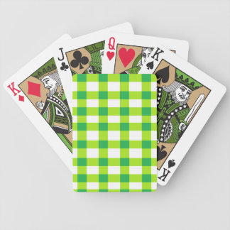 Green Gingham Bicycle Playing Cards