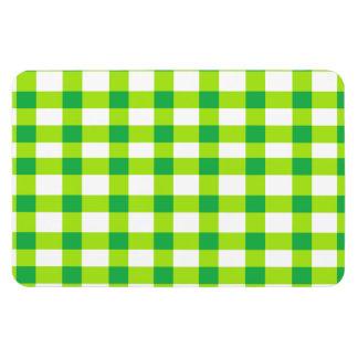 Green Gingham Rectangular Photo Magnet