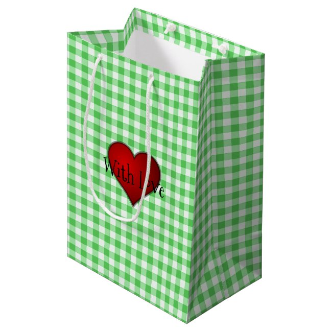 Green Gingham Red heart With Love