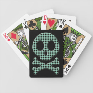 Green Gingham Skull Bicycle Playing Cards