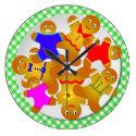 Green Gingham Tablecloth Plate of Gingerbread Men Large Clock (<em>$33.45</em>)