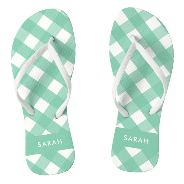 Green Gingham Thongs Personalized Flip Flops