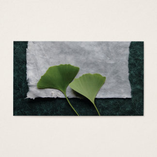 green ginkgo leaves business card