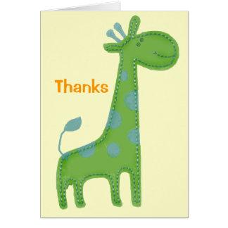 Green Giraffe Applique Thanks Card
