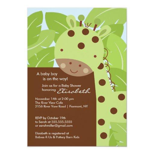 "Green Giraffe Baby Shower Invitation 5"" X 7"" Invitation Card"