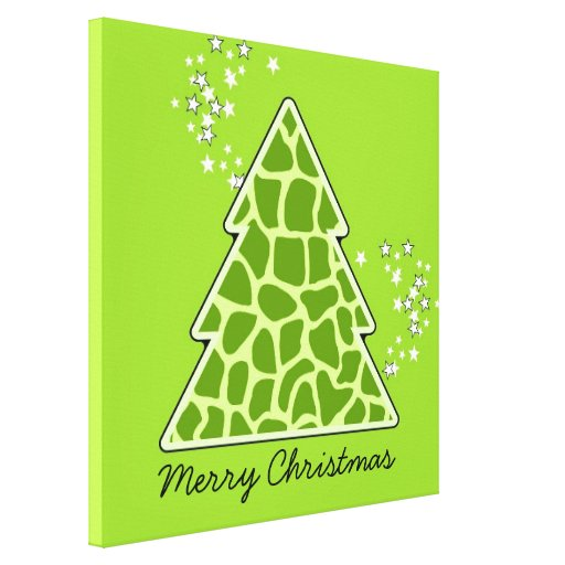 Green giraffe Christmas Tree Stretched Canvas Print