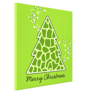 Green giraffe Christmas Tree Canvas Print