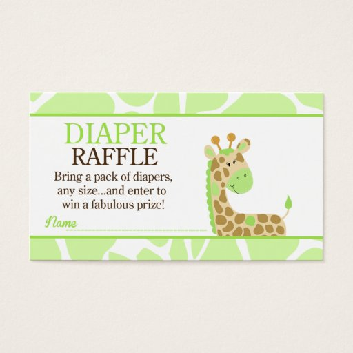 Green Giraffe Jungle Baby Shower Diaper Raffle Business Card