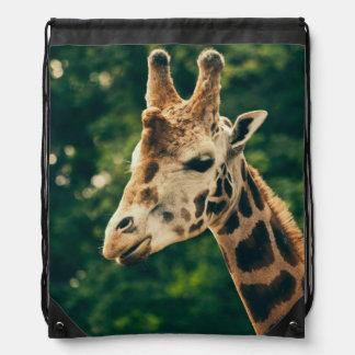 Green Giraffe Portrait, Animal Photography Drawstring Backpack