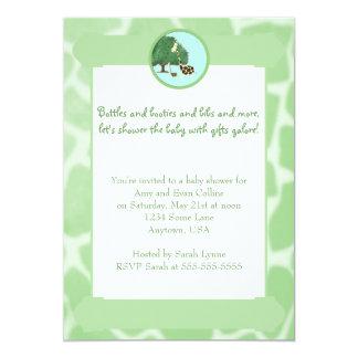 Green Giraffe Print Border Baby Shower Invitation