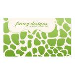 Green Giraffe Print Business Card