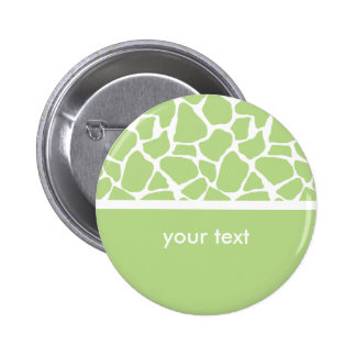 Green Giraffe Print Customizable Button