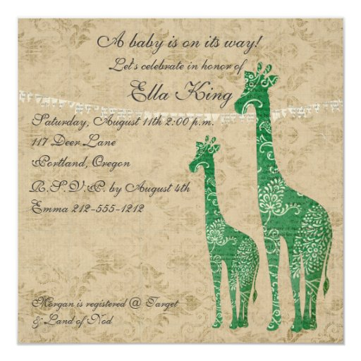 Green Giraffe Silhouettes II Baby Invitation