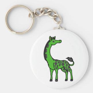 Green Giraffe with Leopard Spots Keychain