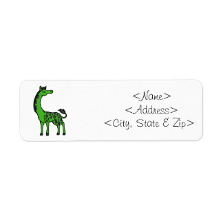 Green Giraffe with Leopard Spots Label