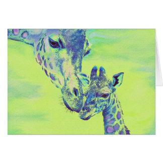 green giraffes card