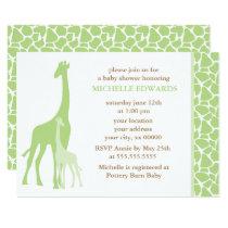 Green Giraffes Neutral Baby Shower Invitation