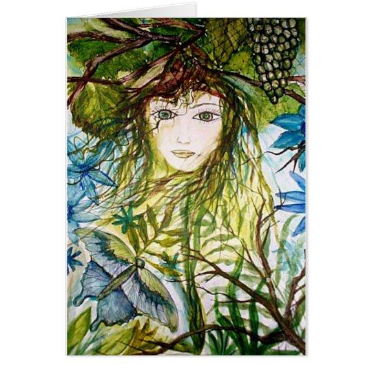 Green Girl Fantasy - butterfly Card