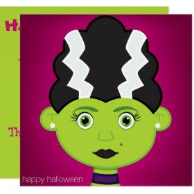 Green girl monster invitation