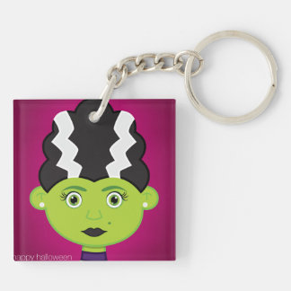 Green girl monster keychain