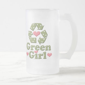 Green Girl Recycle Heart Frosted Mug