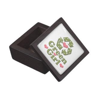 Green Girl Recycling Symbol Gift Box
