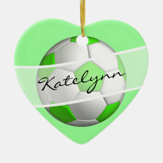 Green Girls Soccer Ball Christmas Tree Ornament