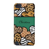 Green Girly animal print hearts with a name iPod Touch 5G Case