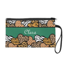 Green Girly animal print hearts with a name Wristlet