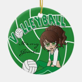 Green Girly Volleyball Ceramic Ornament