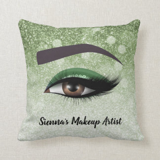 Green glam lashes eyes | makeup artist throw pillow