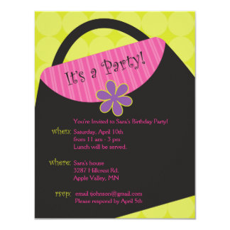 Green Glamour Girl Party Invite
