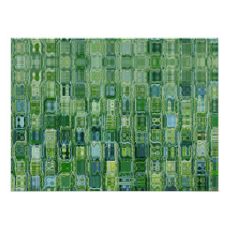 Green Glass Blocks Abstract Poster