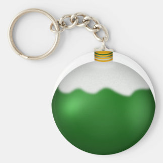 Green Glass Globe Christmas Ornament Basic Round Button Keychain