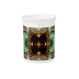 Green Glass Gold Eye Abstract Drink Pitcher