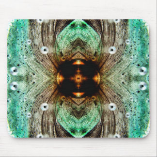 Green Glass Gold Eye Abstract Mouse Pad