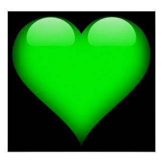 Green Glass Heart Customizable Poster