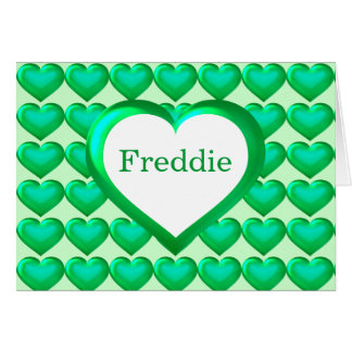 Green glass heart pattern greeting cards