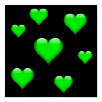 Green Glass Heart Tiled Customizable Poster