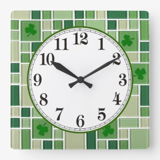Green Glass Tiles and Shamrocks Square Wall Clock
