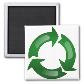 Green Glassy Recycle Symbol 2 Inch Square Magnet