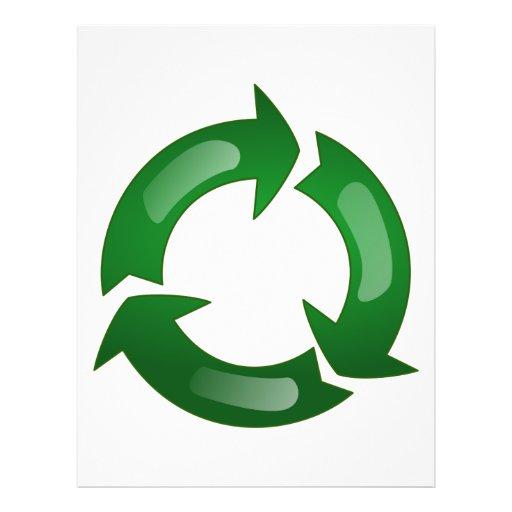 "Green Glassy Recycle Symbol 8.5"" X 11"" Flyer"