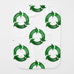 Green Glassy Recycle Symbol Baby Burp Cloths