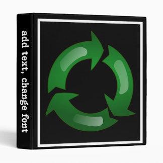 Green Glassy Recycle Symbol Binder
