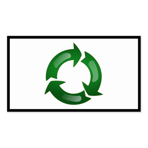 Green Glassy Recycle Symbol Double-Sided Standard Business Cards (Pack Of 100)