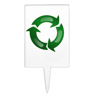 Green Glassy Recycle Symbol Cake Pick