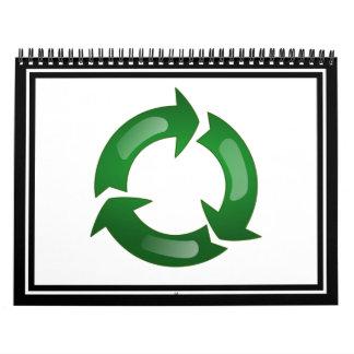 Green Glassy Recycle Symbol Calendar