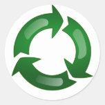 Green Glassy Recycle Symbol Classic Round Sticker