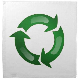Green Glassy Recycle Symbol Cloth Napkins