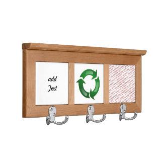 Green Glassy Recycle Symbol Coat Racks